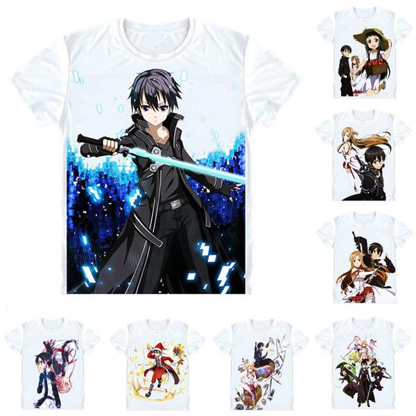 Sword Art Online SAO T-Shirts Short Sleeve Shirts Anime Manga Kirigaya Kazuto Narusaka Kazuto Kirito Swordsman Cosplay Shirt