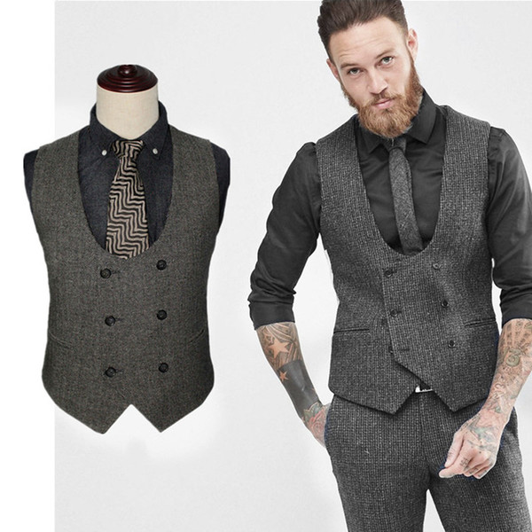 Wholesale-Fashion Men's Waistcoat Suit Vest Men's Slim Fit Skinny Suit Dress Vest Black Jacket Suit Accessories Wedding Groom Vests