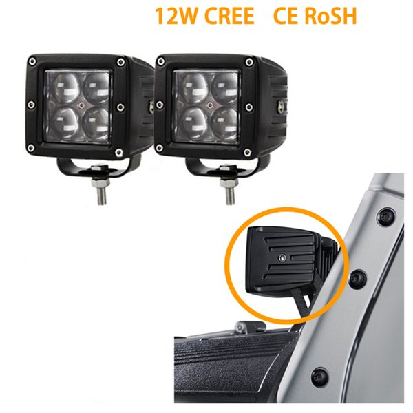 ECAHAYAKU 2PCS 20W 4D LED Work Light Bar Pod Spot Beam Offroad Driving fog Lights for Ford Jeep ATV 4x4 4WD Truck pick-up