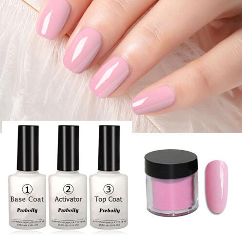 best selling 4 in 1 Bright Nude Pink Colors Dipping Tool Kits Set 10g Box 16ml Base Top Coat Activator Dip Powders Nails Color