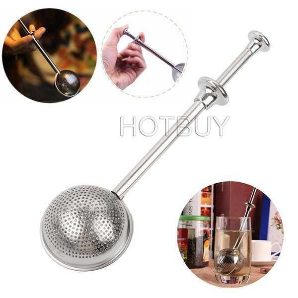 best selling Diameter 5cm Convenient Mesh Ball Shaped Stainless Steel Silver Push Style Tea Infuser Strainer Tea Infuser Filter Tool #3837
