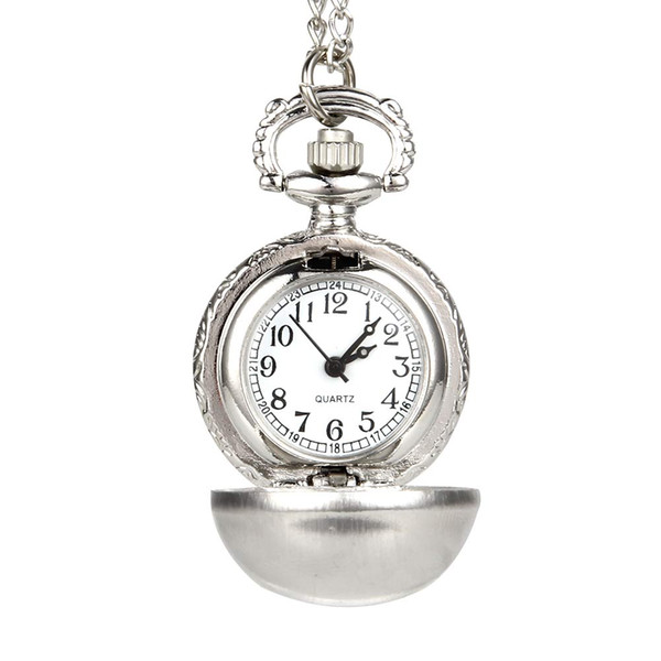 Retro Silver Color Round Ball Quartz Fob Pocket Watch with Sweater Necklace Chain Gifts LL@17