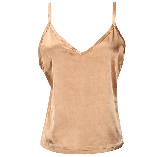 Luxury Satin Gold Tank Top Women blusa de cetim Sexy Summer Sleeveless V-Neck Casual EleTank Top Female regata feminina