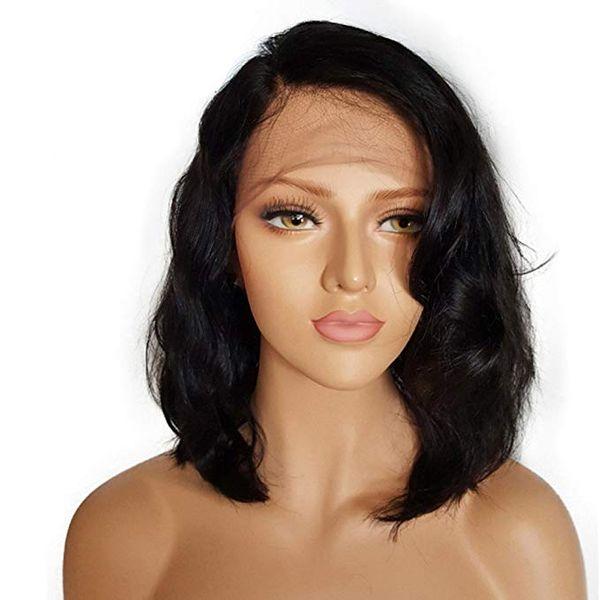 Wavy bob 12inch full lace human hair wigs 150% density Glueless lace front brazilian hair bob wigs side part