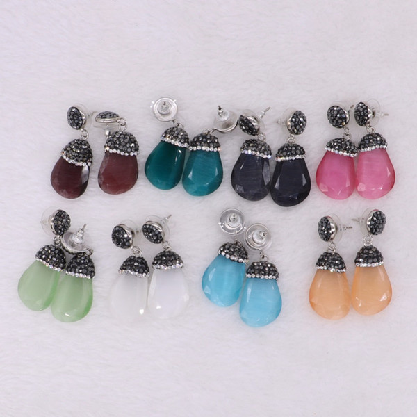 5 Pairs Natural Cat Eye Dangle Earrings Small Charm Crystal Stone Druzy Drop Earrings Black White Green Gems Jewelry for Women