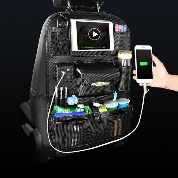 2019 Auto Saco De Armazenamento De Carro Assento Multi Bolso Cabide De Armazenamento De Viagem Car USB Carregador Tampa de Assento Organizador Titular Banco Traseiro