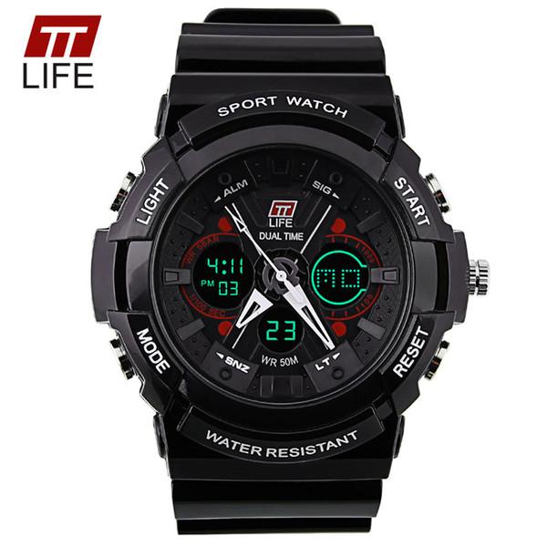TTLIFE Marca Dial de Gran Cara Para Hombre Relojes de pulsera Natación Digital Escalada PU Shell 50 M Resistente al agua Hombre exterior Relojes Deportivos