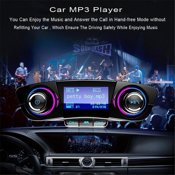 Handsfree Car Kit Audio MP3 Player with Smart Charge Dual USB BT06 FM Transmitter 2.1A Fast Car Charger Aux Modulator Bluetooth