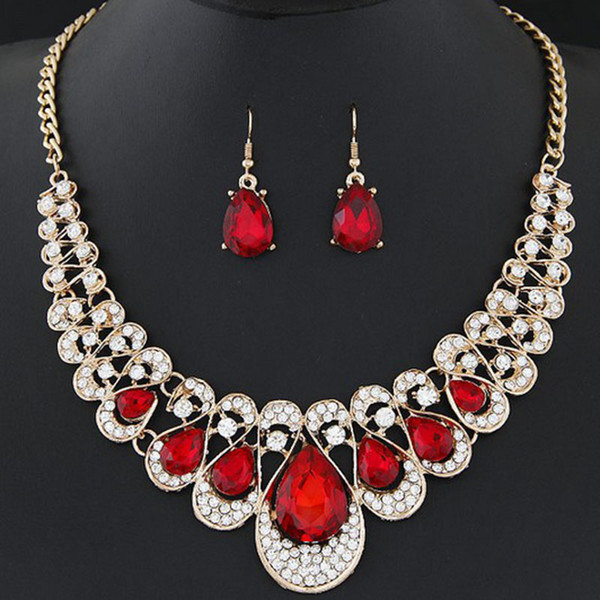 6 Colors Crystal Gemstone Water Drop Statement Necklace Earrings Jewelry Sets Chokers for Women Fashion Gifts 162652