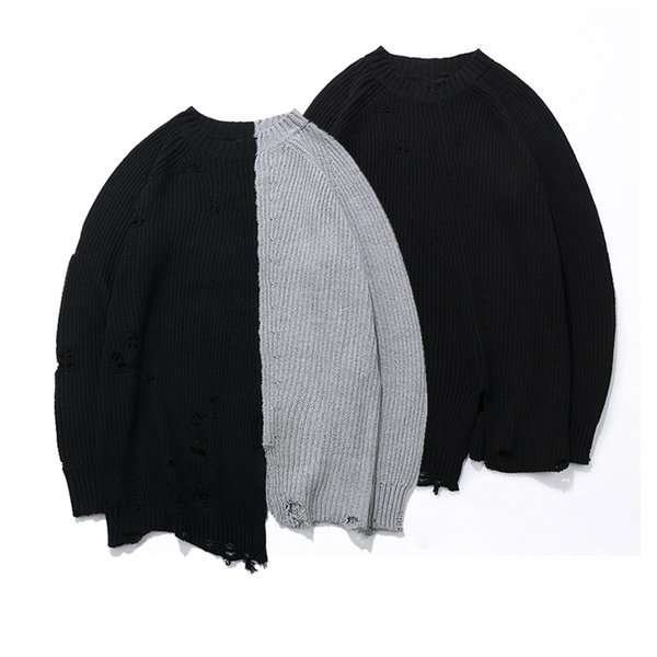 Ripped Holes Fashion Vintage men Sweater Hip Hop oversized Two colors Stitching high quality sweater Casual Pullovers
