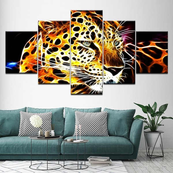 High Quality Canvas Painting Unframed 5 Pcs/Set Abstract Leopard Wall Art Picture Home Decor Living Room Poster Painting Popular Gift
