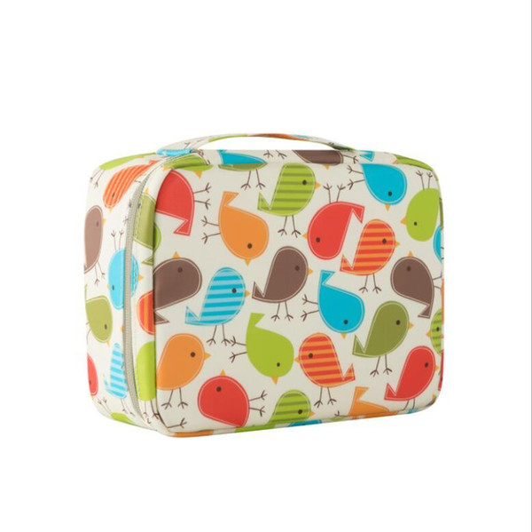 Wholesale Color Birds Fashion Design Women Cosmetic Bags Multi Pockets Make Up Travel Toiletry Storage Box Handed Bag Wash Organizer Cases
