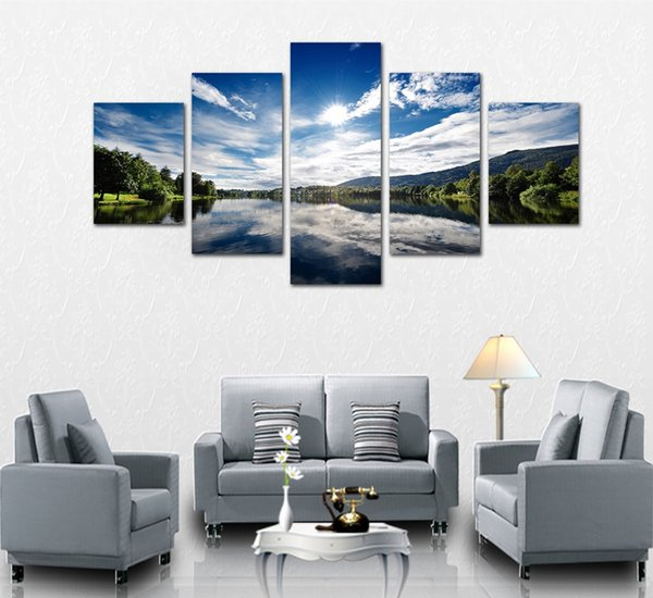 Unframed 5 Panels Landscape Painting for Home Decoration Sunny Mountain Lake Scenery Picture on Canvas New Wall Art Poster