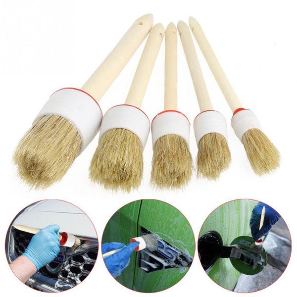 best selling 5Pcs Soft Car SUV Detailing Wheel Wood Handle Brushes for Cleaning Dash Trim Seats Handy Washable Car Cleaning Tool