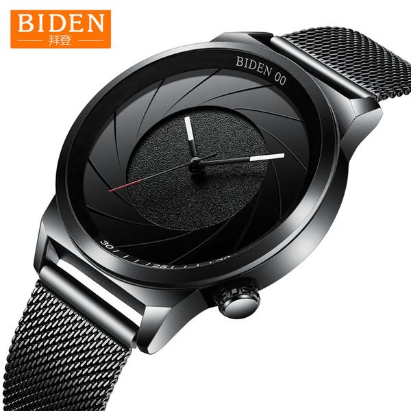 Casual Design Watches For Men BIDEN Stainless Steel Ultra-thin Clock Drop Shipping Male Quartz Business Men's Luxury WristWatch