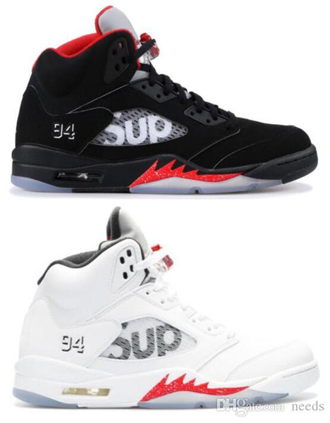 High Quality 5 5s SUP Black White Mens Basketball Shoes Sports for Men Sneakers With Shoes Box size us 7-13 Free Shipping