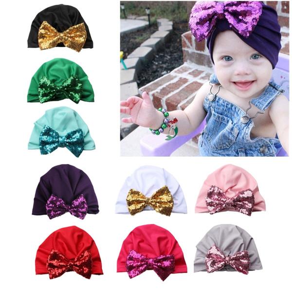 Hot New 1 Pc Doce Meninas Do Bebê Chapéu com Arco de Lantejoulas Algodão Elástico Do Bebê Crianças Beanie Cap Faísca Chapéus 8 Cores de Alta Qualidade