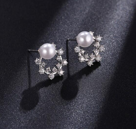 Women Bride Fashion 925 Silver Needle Ear Studs Shiny Cubic CZ Crystal Pearl Earrings Prevent Allergy Earring For Wedding Party Jewelry