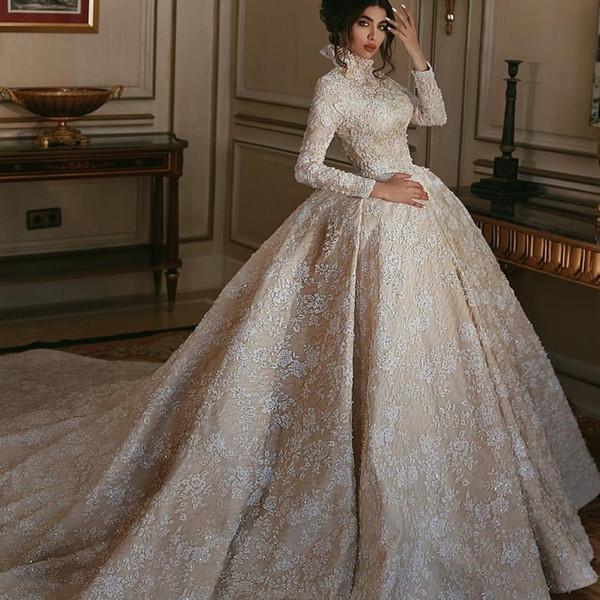 Acheter Mode Arabie Saoudite Robe De Mariée Col Montant Manches Longues  Perles Dentelle Robe De Bal Robe De Mariée Glamorous Train Chapelle Robes  De