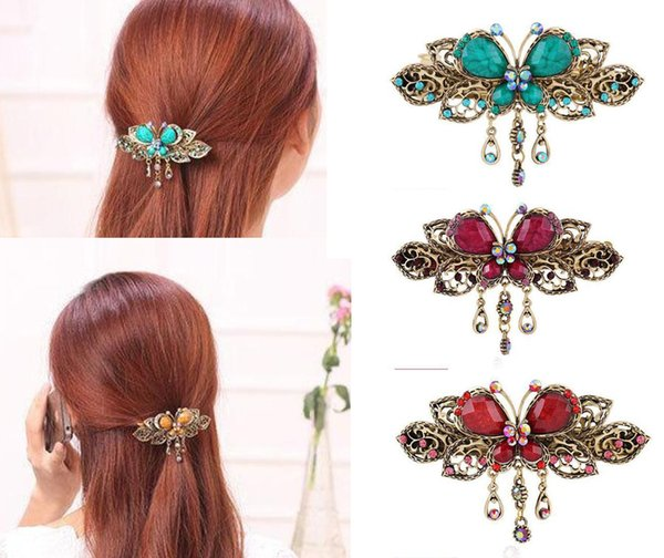 2018 Elegant Women Retro Vintage Crystal Diamond Butterfly Flower Hairpins Hair Clip Barrette Hair Band Accessories
