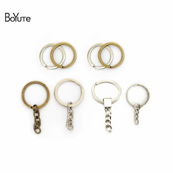 BoYuTe (100 Pieces /lot) 28MM 30MM Metal Key Chain Ring Round Split Keychain Keyrings Diy Jewelry Findings Components
