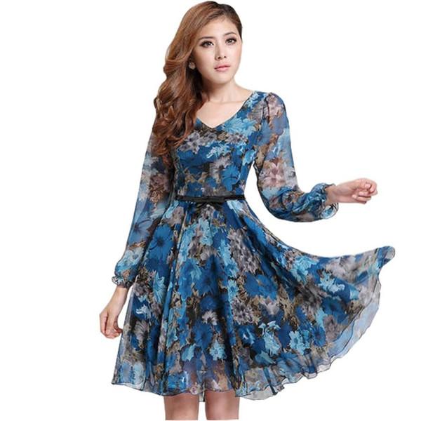 2018 das mulheres Floral Print Vintage vestido Plus Size doce Lady manga comprida V Neck Casual verão Chiffon estilo chinês vestido