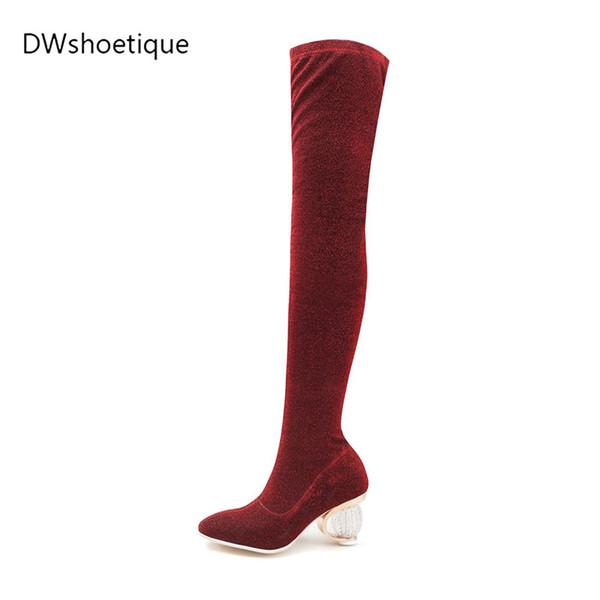 Neue blingbling Kristall Metall Heels Frauen lange Stiefel blingbling Stiefel spitze Spitze 6 cm hoch seltsamen Stil Fersen Stretch-Stoff