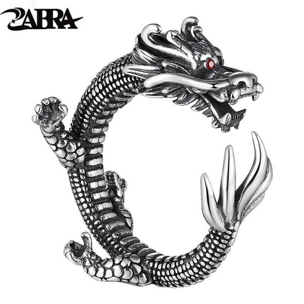 ZABRA Vintage Dragon Ring Adjustable 925 Sterling Silver Rings For Men Red Zircon Eyes Puck Rock Biker Jewelry