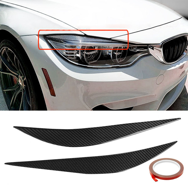 Carbon Fiber Front Eye Lid Cover Pair Eyebrows Trim Cover Car Accessories Styling Headlamp for BMW 2014-2017 F80 M3 F82 F83 M4