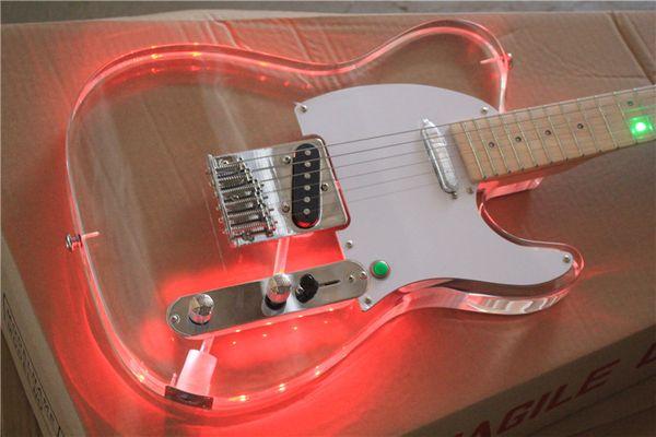TL Plexiglas E-Gitarre bunte LED Licht Griffbrett Gitarre Körper kann rot, gelb, blau und grün Pulver ändern