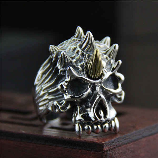 925 sterling silver ring vintage Ring men and women Thailand silver personality skull ring adjustable hip hop jewelry cheap china direct