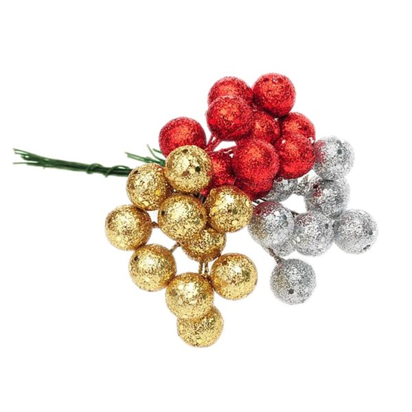 New 10Pcs/lot Christmas Tree Hanging Baubles Fruit Ball Hanging Balls Party Xmas Decorations for Home Ornament Red Sliver Gold