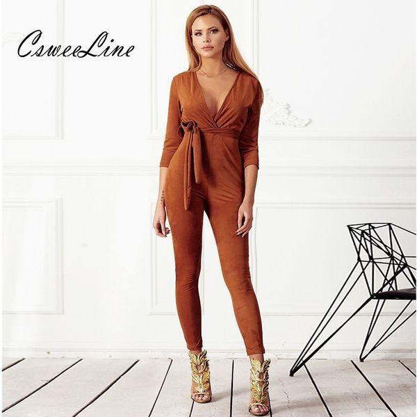 V-Ausschnitt Sexy Brown Suede Overall Herbst Womens Outfits Langarm Schärpen Combinaison Femme Body Feminino Strampler Club Overalls