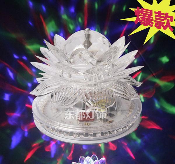 Fabrika doğrudan satış led küçük güneş Lotus Fener renkli dans salonu etkisi lambası kristal lotus LED lamba Lotus Fener