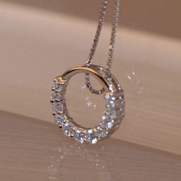 Mode féminine simple court zircon micro cercle pendentif clavicule collier cadeau de la Saint-Valentin