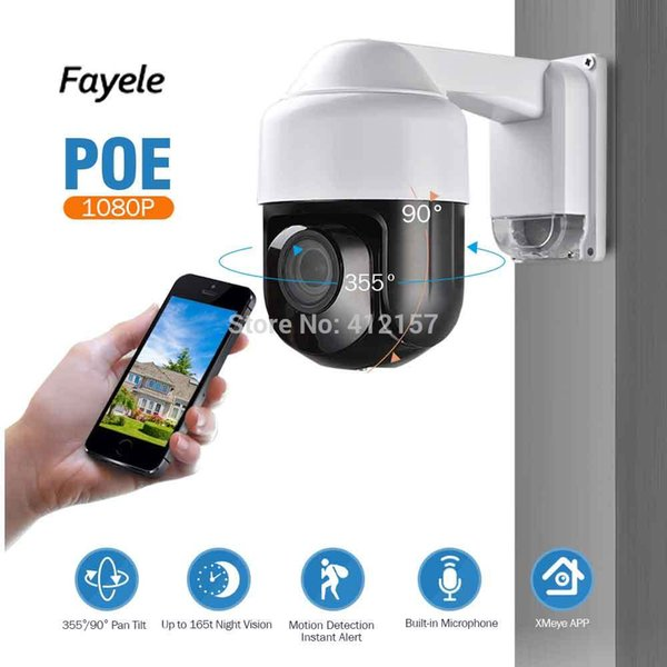 Fayele Security POE 1080P MINI PTZ Camera 4X Optical Zoom IR-Cut Night Vision 60m Outdoor IP Speed Dome Camera ONVIF P2P Audio