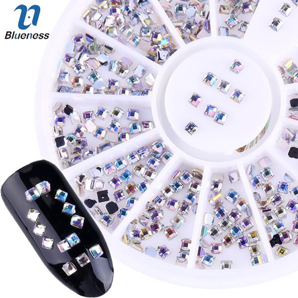 Blueness AB Strass Platz Design Acryl Bohrer Für Nägel Stud Tipps Glitter 3D Nail art DIY Maniküre Dekorationen Rad ZP017