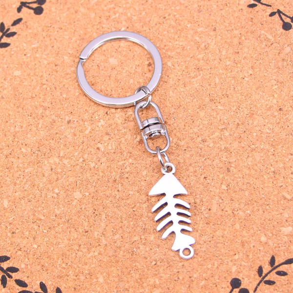 New Design fish bone connector Keychain Car Key Chain Key Ring silver pendant For Man Women Gift