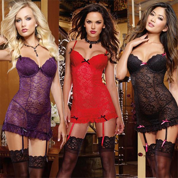 Плюс размер нижнего белья Sexy Hot эротические костюмы перспектива кружева Babydoll слинг сексуальное женское белье + стринги сексуальное нижнее белье ночная рубашка S918