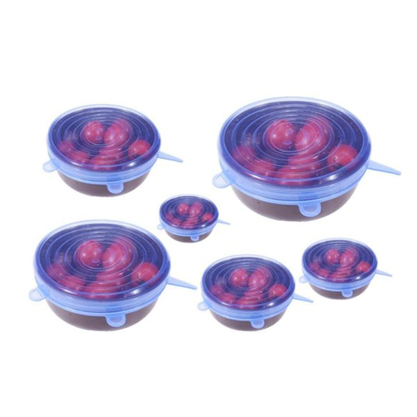 6PCS/Set Universal Silicone Stretch Preserve Pot Bowl Lid for Fridge Microwave Oven Food Saver Reusable Containers Cover