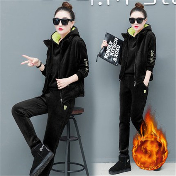 3PCS Women Tracksuit Sportswear Winter Thickness Fleece Warm Suit Velvet Hoodies Sweatshirt+pants+vest Running Jogger Casual Set