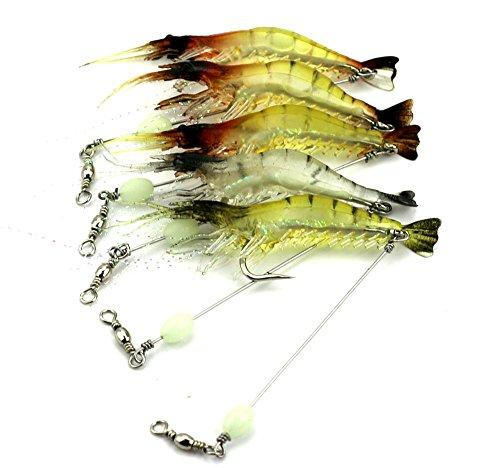 LENPABY 6pcs luminous shrimp soft pike fishing lures wobble bass fishing baits pesca fishing tackles 7.5cm 6.6g