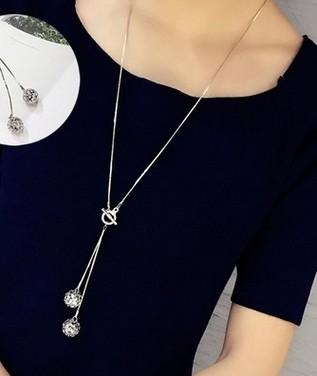 Korean fashion spring and summer T buckle crystal pendant long necklace female wild sweater chain wholesale