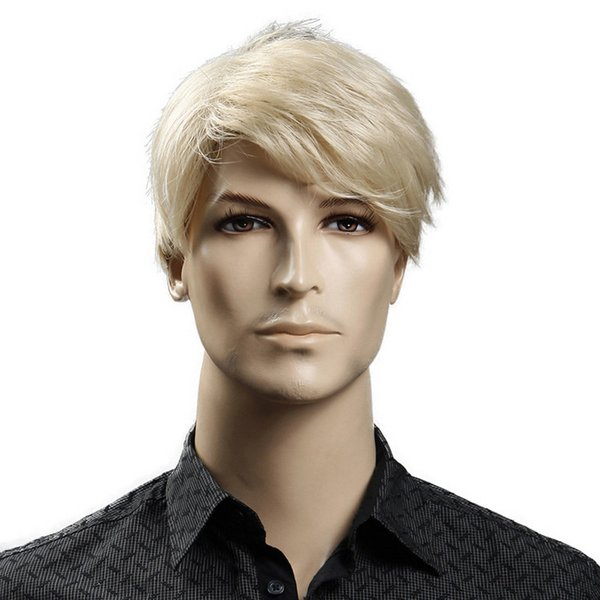 Free Shipping Synthetic 6inch Short Blonde Male Wig Natural Hair Man Wig Straight hairStyles Heat Resistant Fiber