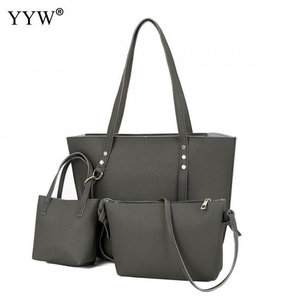 3PCS Casual Women Set PU Leather Handbags Solid Ladies Shoulder bags Cross body Handbags cheap