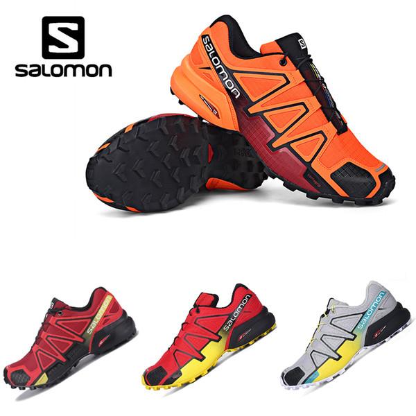 Großhandel Drop Shipping Salomon Speedcross 4 IV CS Trail Laufschuhe Herren Orange Rot Geschwindigkeit Kreuz Outdoor Wandern Sport Turnschuhe Von