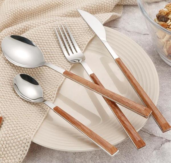 Набор столовых приборов из нержавеющей стали с деревянной ручкой экологически чистые Западной посуда наборы ложка нож вилка высокое качество посуда