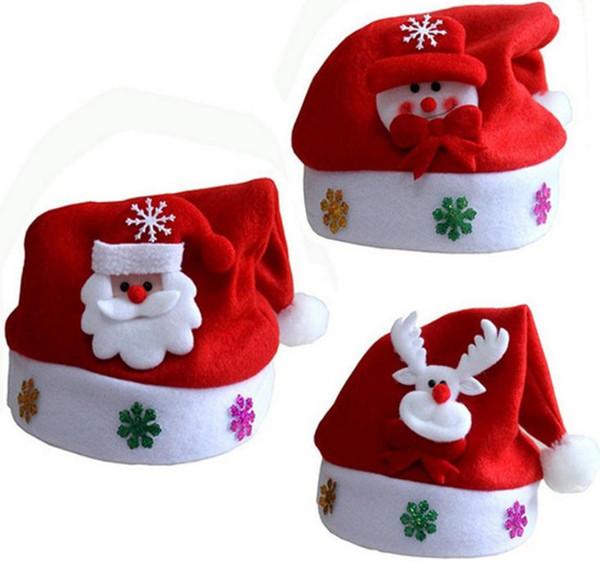 Chapéu de natal Para As Crianças Presentes para Adultos Dos Desenhos Animados Applique Santa Veados Neve Designs Chapéus Fontes Do Feriado de Natal SN1160