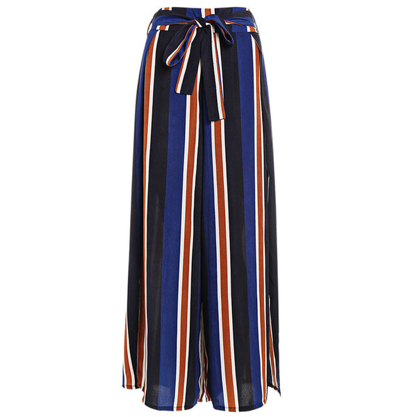 06422b0fc4a Women Ladies Vintage Loose High Waist Long Trousers Polyester Striped Side  Split Casual Palazzo Pants Wide Leg Pants pantalones
