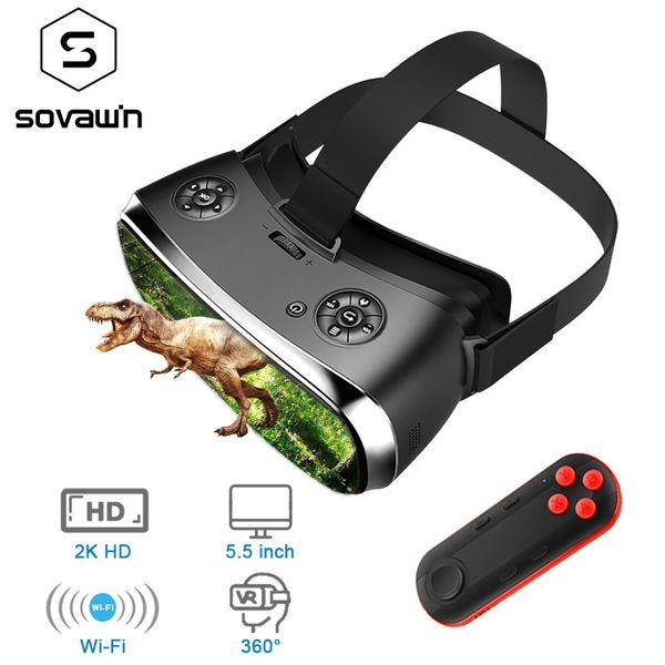 Sovawin 2 K HD Wifi Hepsi Bir VR Hdmi Kulaklık 3D Akıllı Gözlük Sanal Gerçeklik Sürükleyici Gözlüğü Karton VR Kask 5.5 'Ekran